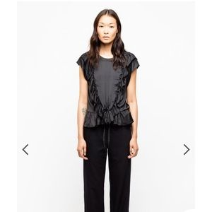 NWT Zadig & Voltaire Black Satin Blouse size M